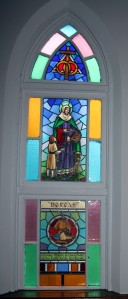 Nestleton United Church stained glass window.